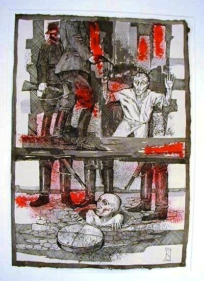 "The Warsaw Ghetto (1966), 40 gouache, pen and ink paintings by Jozef Kaliszan Massacre ""What's Left of Us"" (#35) Courtesy Kestenbaum & Company"