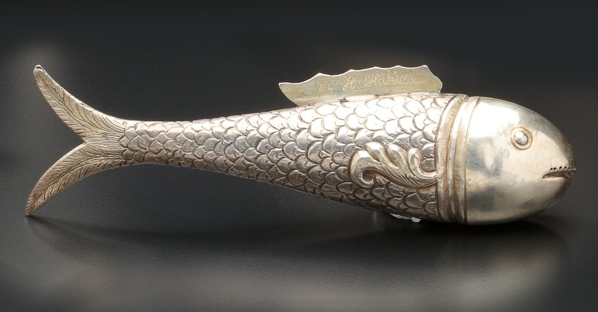 Oriental Silver Filigree Fish-Form Spice Container (1912) Courtesy Kestenbaum & Company