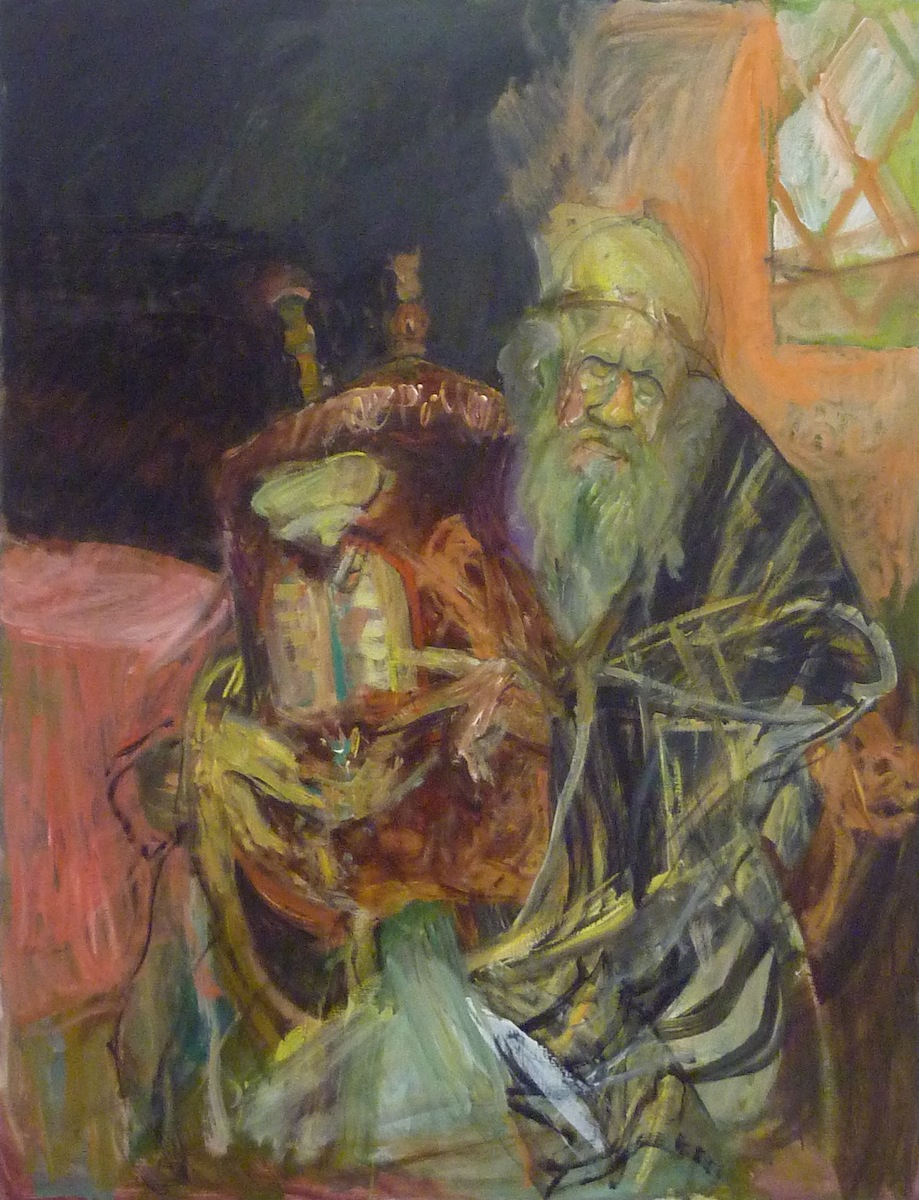 Jew with Torah (#9) (mid 1980's – early 1990's), oil on canvas by Hyman Bloom Courtesy White Box and Estate of Hyman Bloom