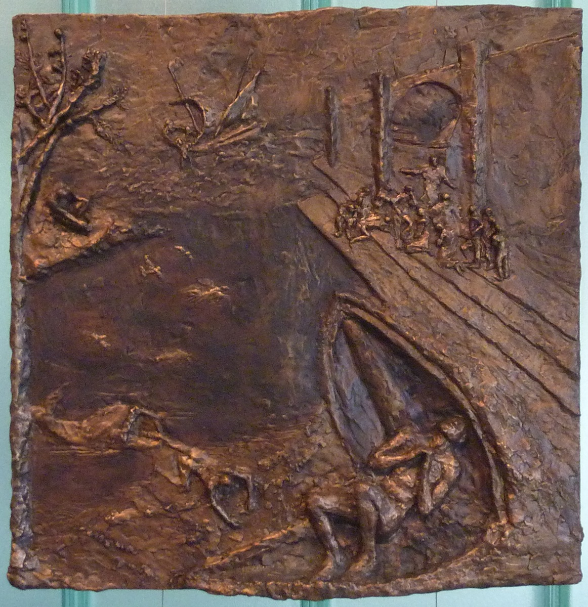 Jonah and the Whale (2012) 23 x 23, bronze relief by Lynda Caspe Courtesy Derfner Judaica Museum – Hebrew Home at Riverdale