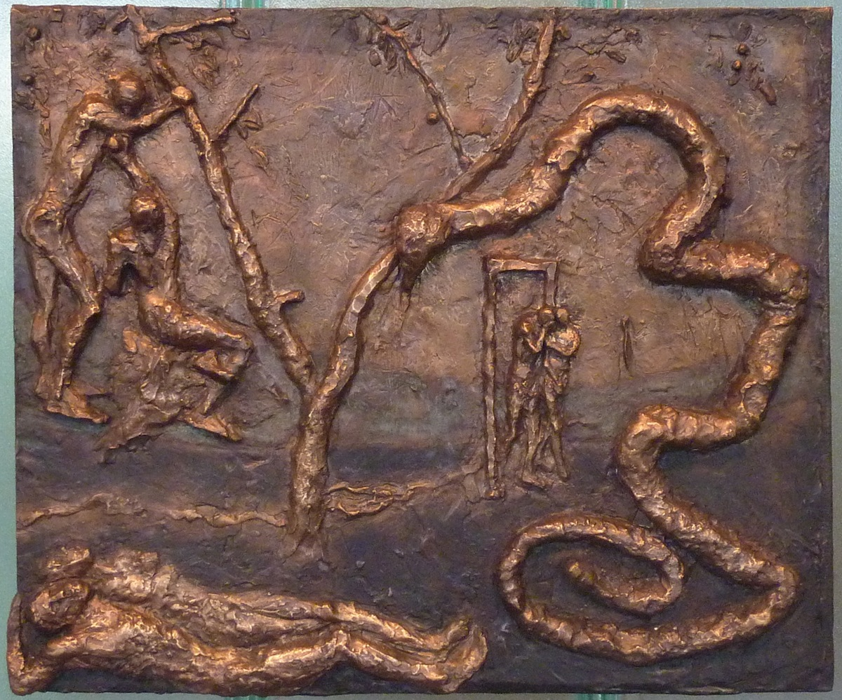 The Story of Adam and Eve (2013) bronze relief by Lynda Caspe Courtesy Derfner Judaica Museum – Hebrew Home at Riverdale