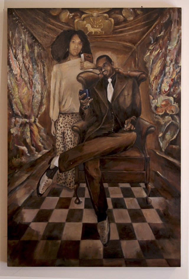 Joseph in Exile (Joseph and Osnat)  (36 x 24), Oil on wood panel by Elke Reva Sudin  Courtesy Hadas Gallery