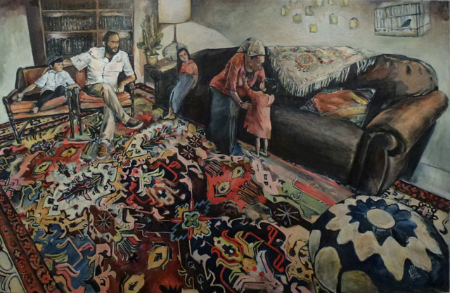 Shabbat Afternoon in Leah's Tent  (36 x 60), Oil on canvas by Elke Reva Sudin  Courtesy Hadas Gallery