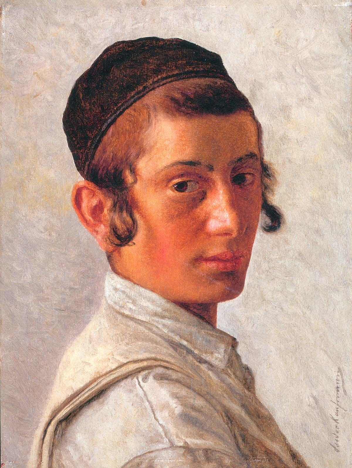 "Portrait of a Young Boy, oil on panel (9"" X 6 ¾"") Isidor Kaufmann Courtesy of Kestenbaum and Co."