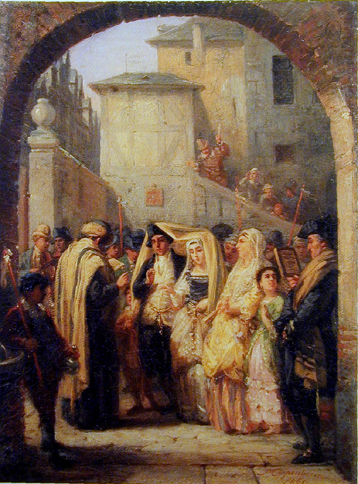 Wedding (oil on canvas) by Moritz Oppenheim Pictures of Traditional Jewish Family Life (1861) The Israel Museum, Jerusalem