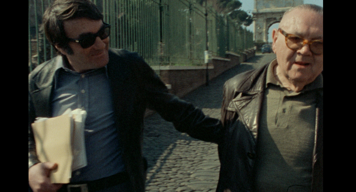 The Last of the Unjust (2013) documentary film by Claude Lanzmann, Lanzmann and Benjamin Murmelstein (right side) near Arch of Titus Courtesy Synecdoche & Le Pacte Films