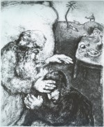 Jacob Blessed by Isaac, The Bible (1957) etching by Marc Chagall Courtesy the Jewish Museum