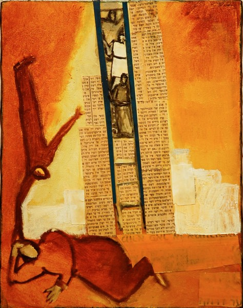 "Jacobs Ladder (after Chagall) 14"" x 11"""