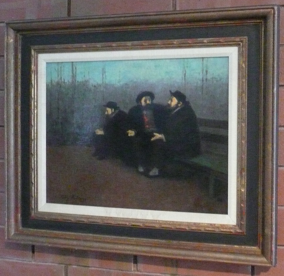Three Bearded Men (ca. 1960) oil on canvas by Tully Filmus Courtesy Derfner Judaica Museum (photo by Michael Moran)