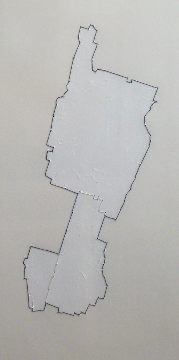 Manhattan Three Times (2007 – 2011), acrylic & thread on paper by Ben Schachter Courtesy Yeshiva University Museum