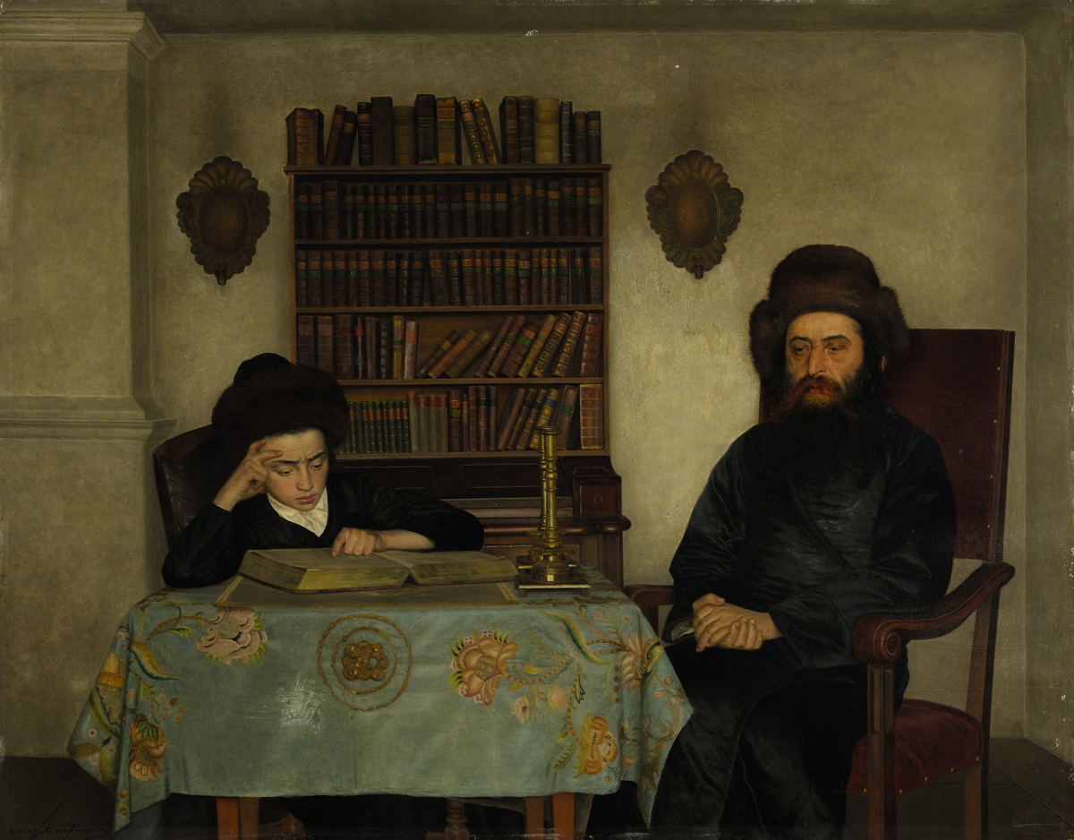 Rabbi with Young Student, oil on panel by Isidor Kaufmann Courtesy Sotheby's