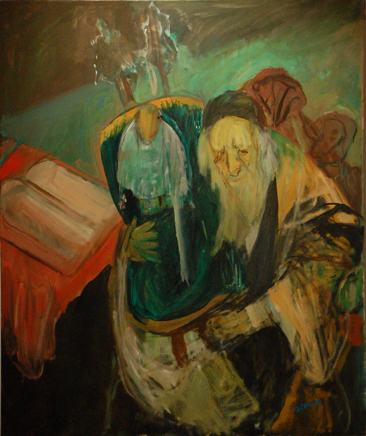 Rabbi with Torah, oil on canvas, by Hyman Bloom Courtesy of The Jewish Gallery