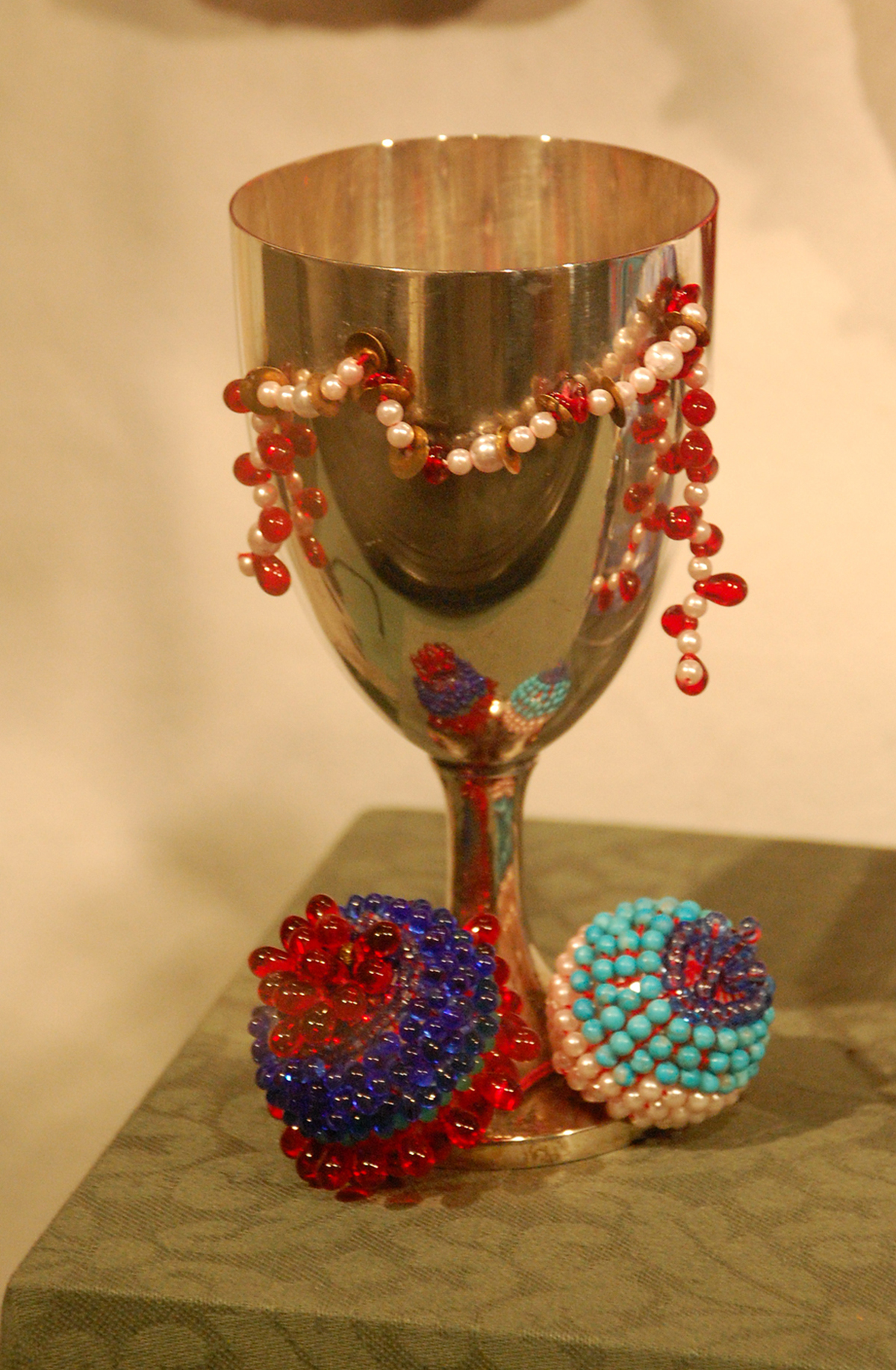 Miriam Cup (2000), Sterling Silver, mock pearls, stitched by Ita Aber