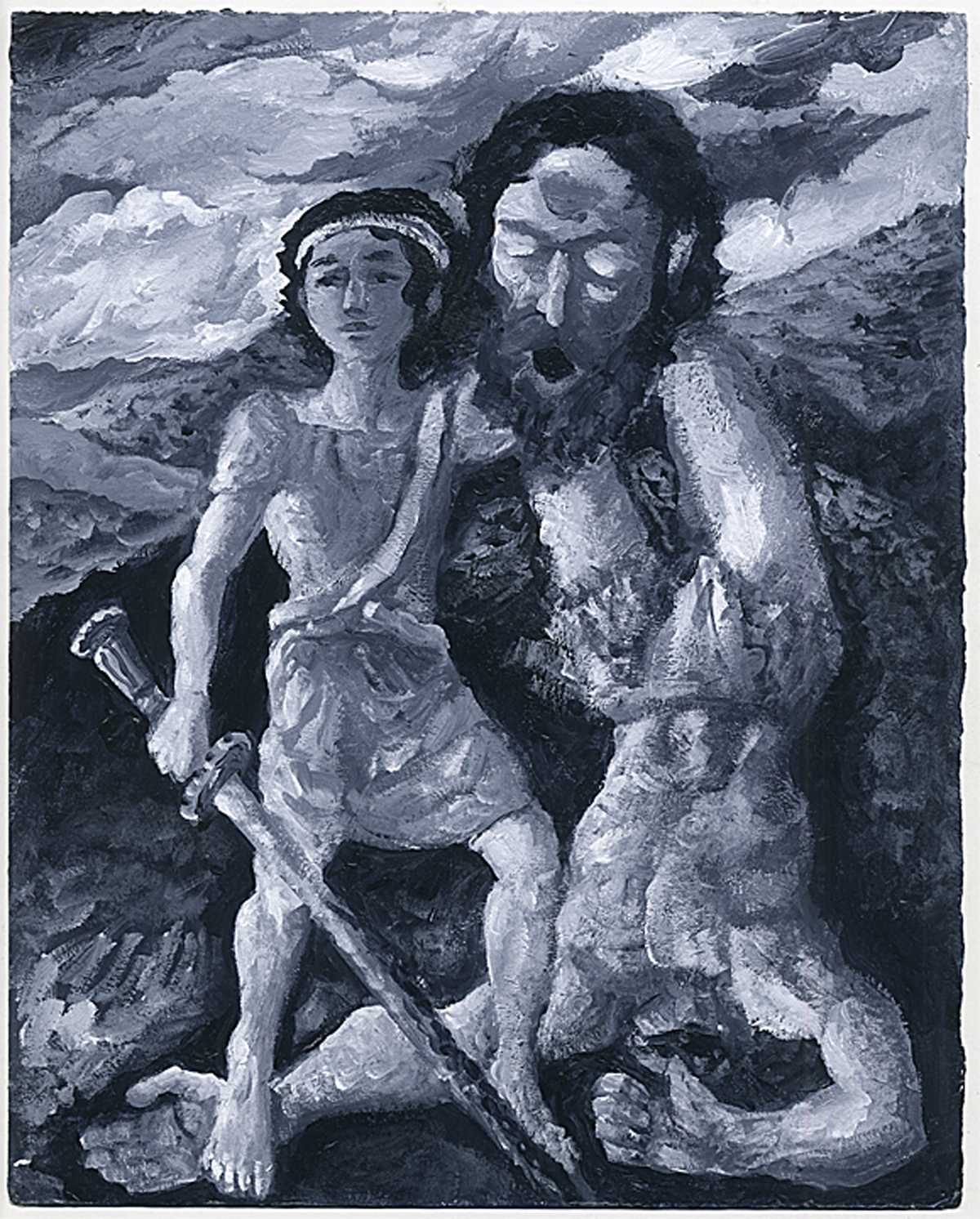 David and Goliath, acrylic on paper by Lloyd Bloom Courtesy the Chassidic Art Institute