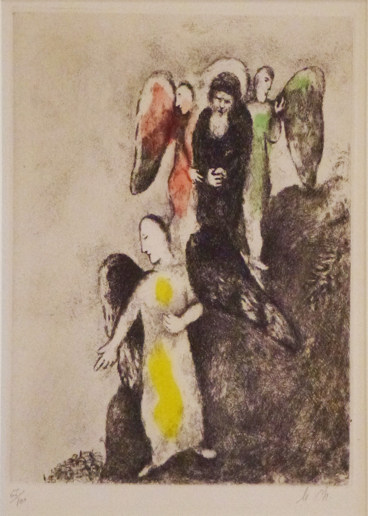 Descent Towards Sodom (1957) hand-colored etching by Marc Chagall Courtesy Haggerty Museum of Art, Gift of Patrick and Beatrice Haggerty Marc Chagall © 2012 Artists Rights Society (ARS), New York / ADAGP, Paris