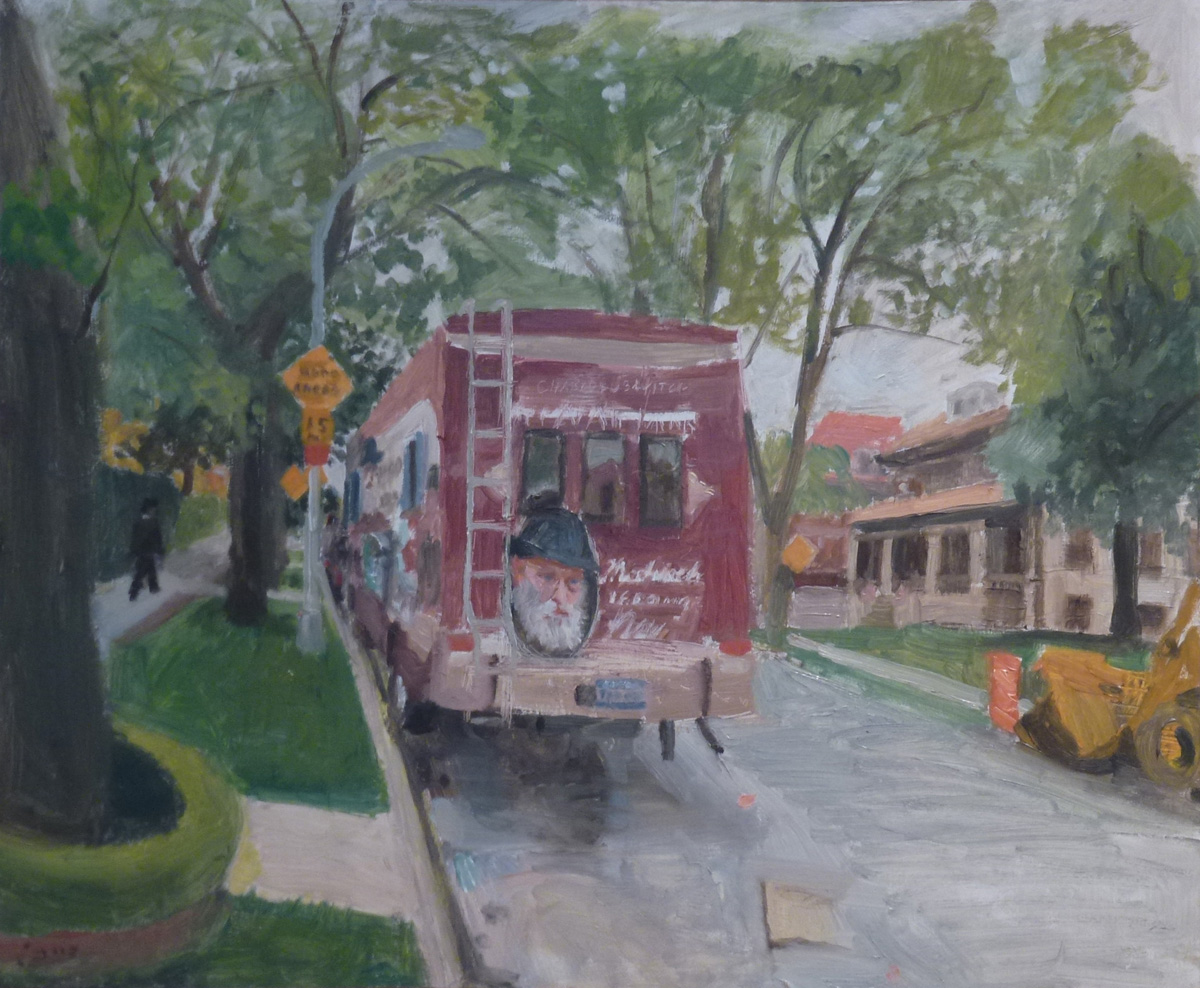 Mitzvah Tank (2011), oil on Masonite by Robert Feinland Courtesy Chassidic Art Institute