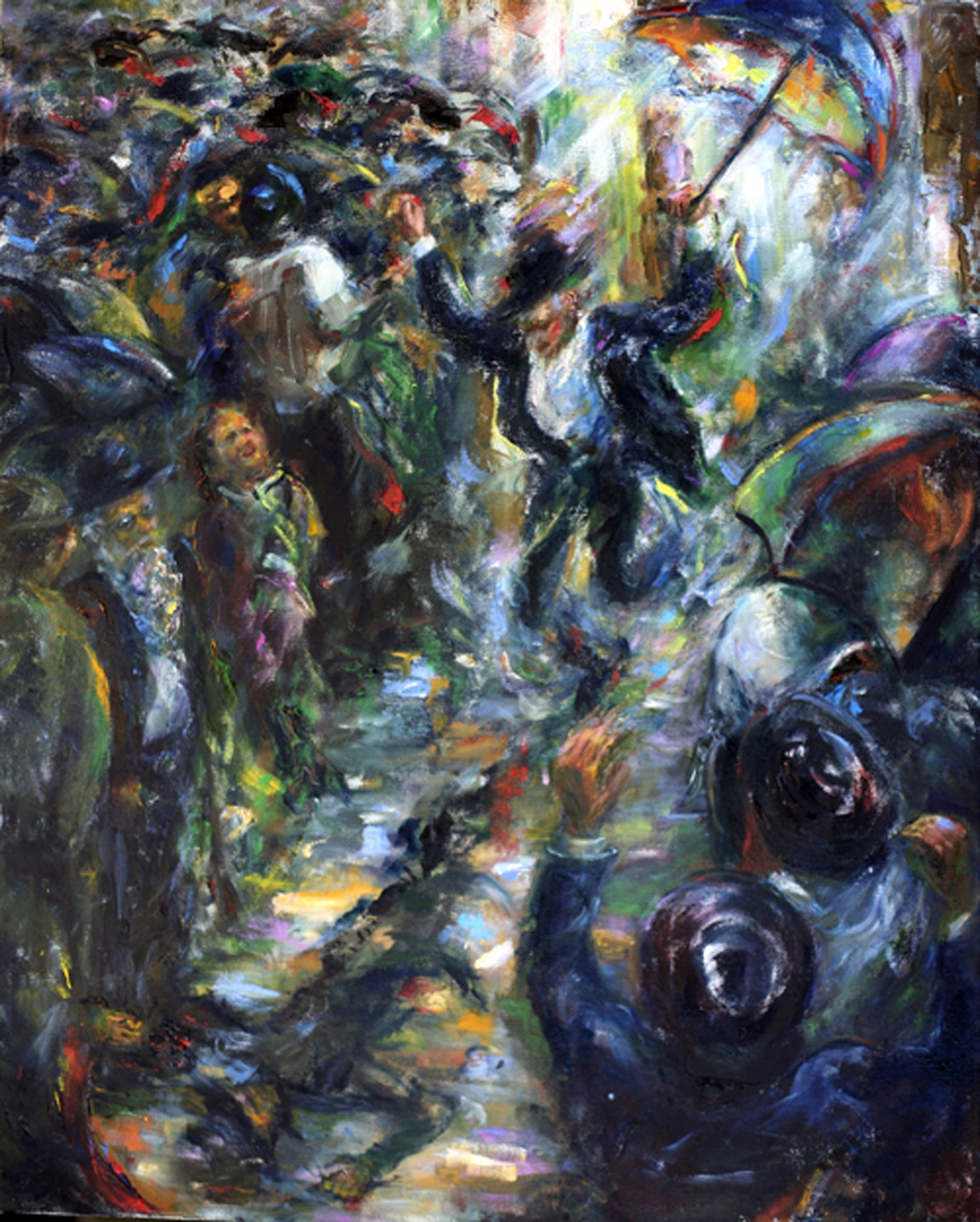 Dancing in the Rain, (30 x 24), Oil on linen by Rosa Katzenelson Courtesy Hadas Gallery