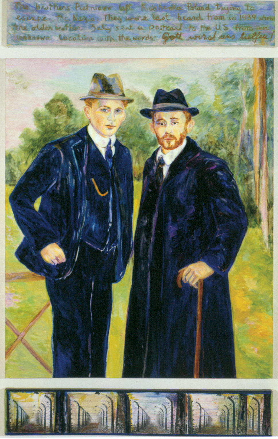 Brothers (1999) 86 x 50, oil on linen and paper by Diana Kurz Courtesy the artist