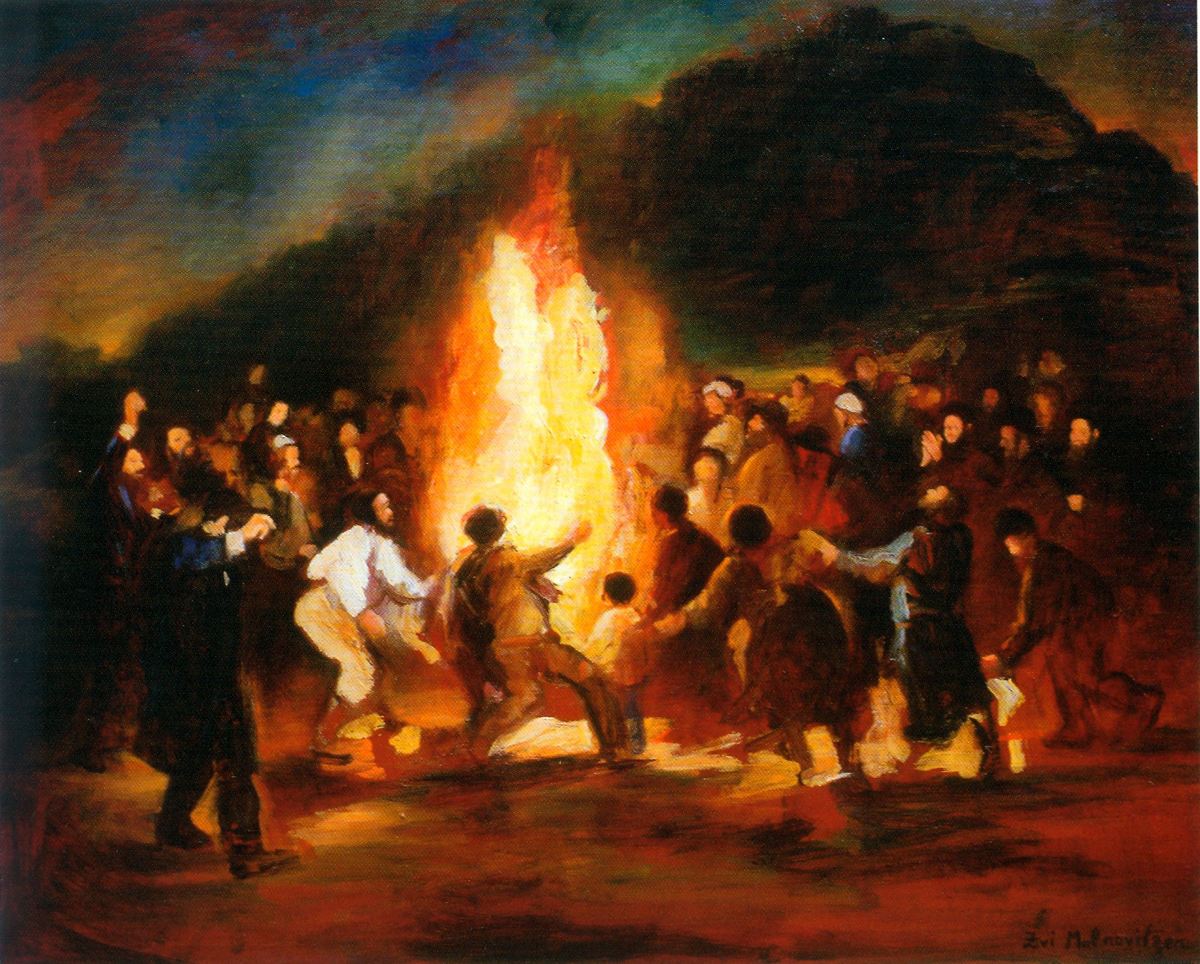 Lag B'Omer (1900's), oil on canvas by Zvi Malnovitzer Private Collection, New York