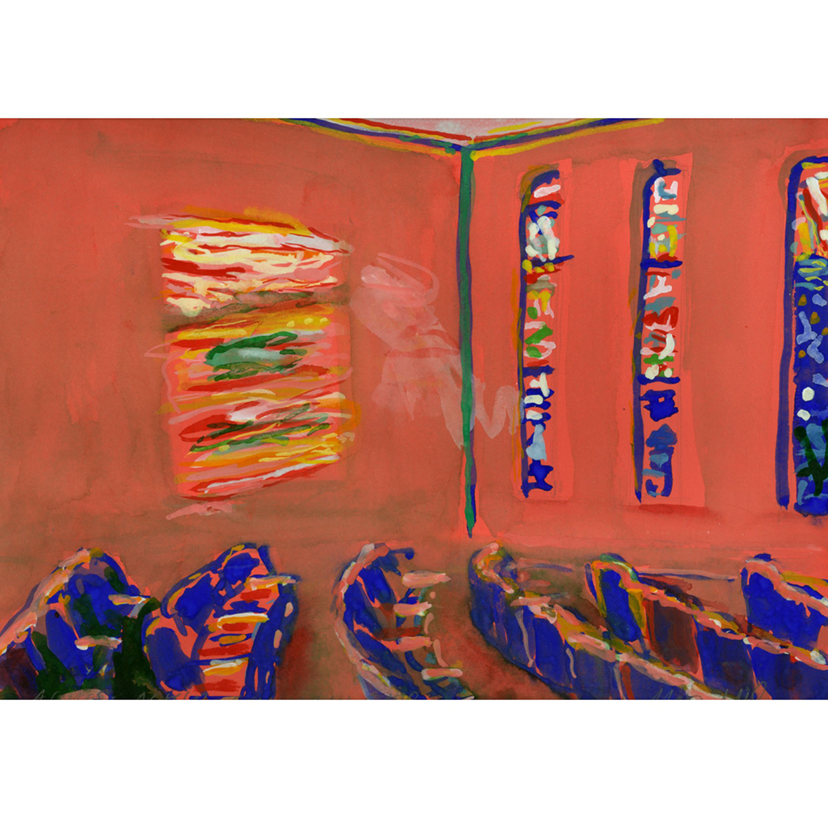Agudas Achim, Columbus, Ohio (2004), watercolor on paper by Max Miller Courtesy the artist