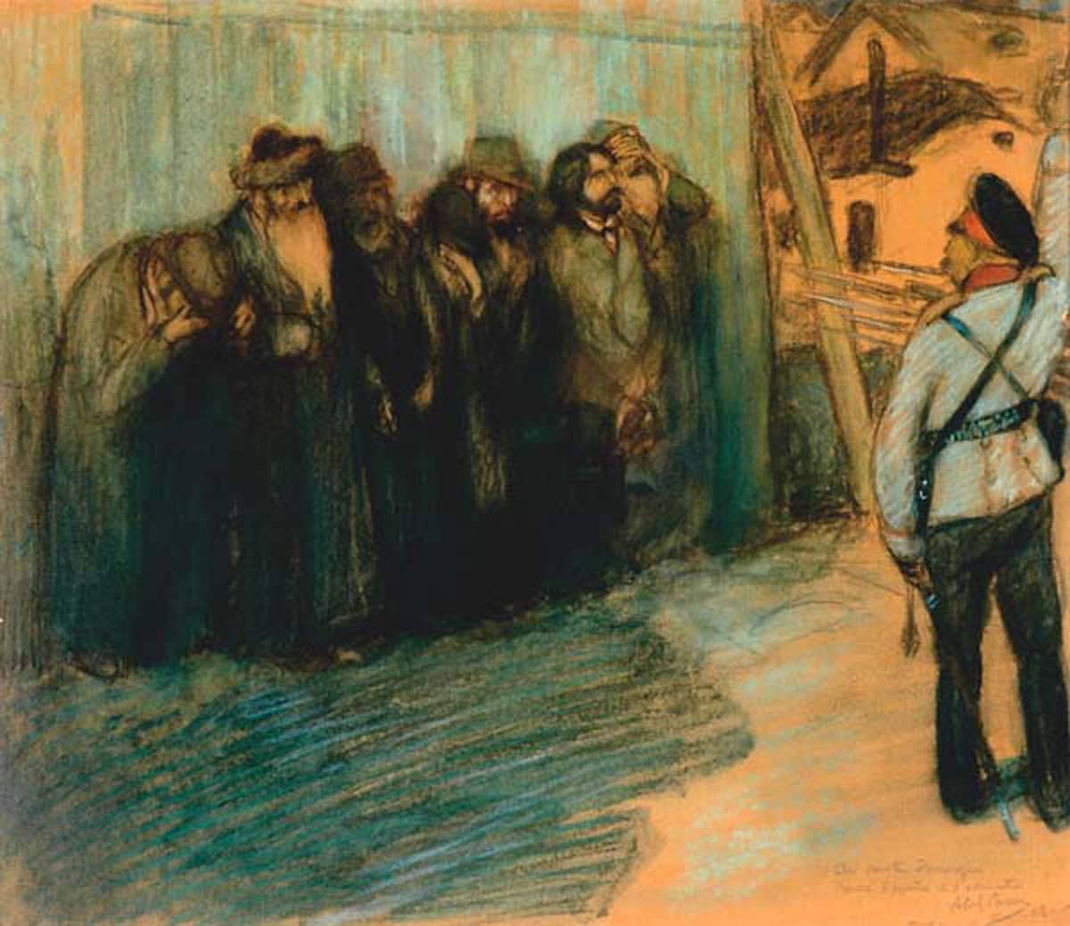 In Front of the Firing Squad (1918), pastel on paper by Abel Pann Courtesy Mayanot Gallery, Jerusalem