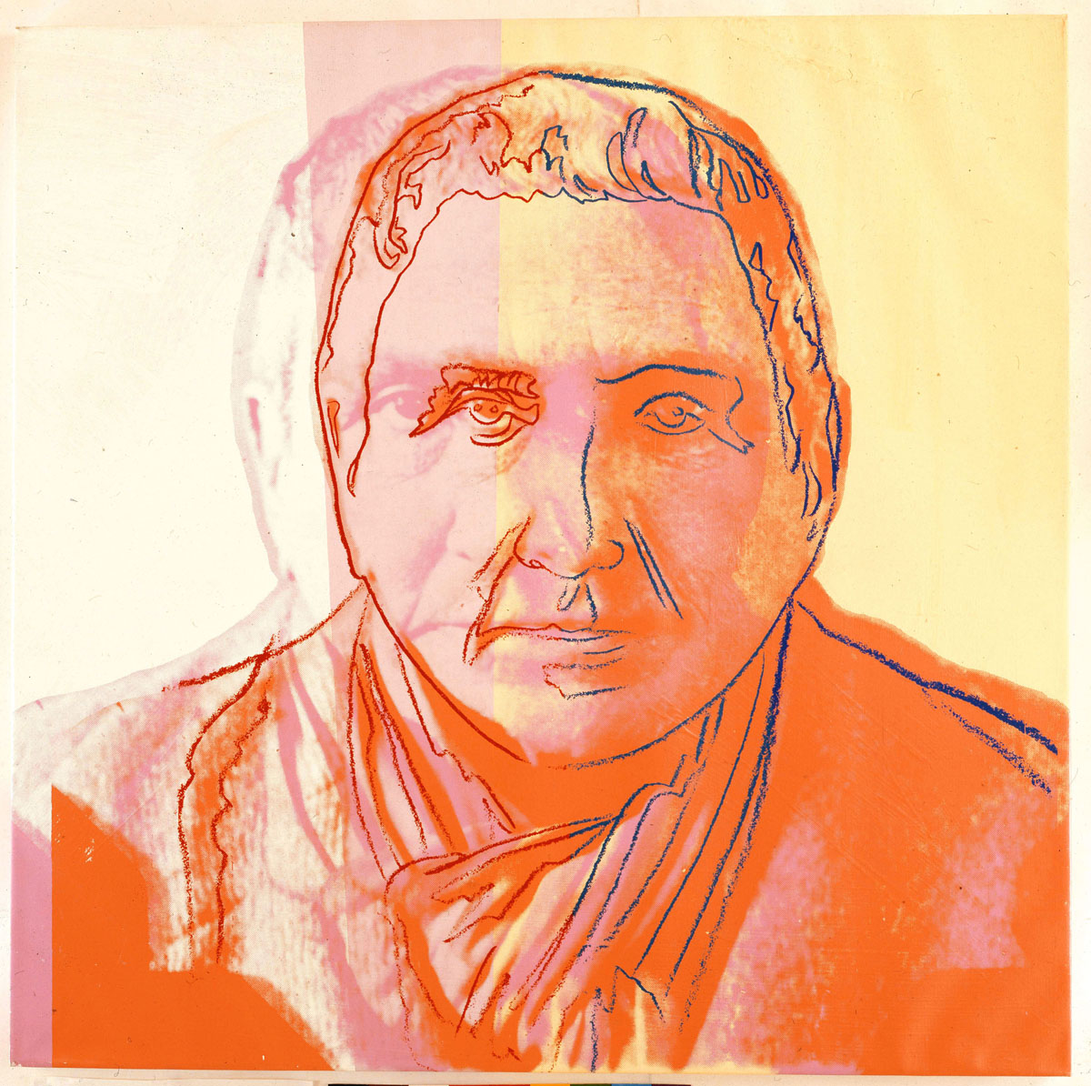 "Gertrude Stein (1980) acrylic and ink on canvas by Andy Warhol ""Ten Portraits of Jews of the Twentieth Century"" Jewish Museum, New York"