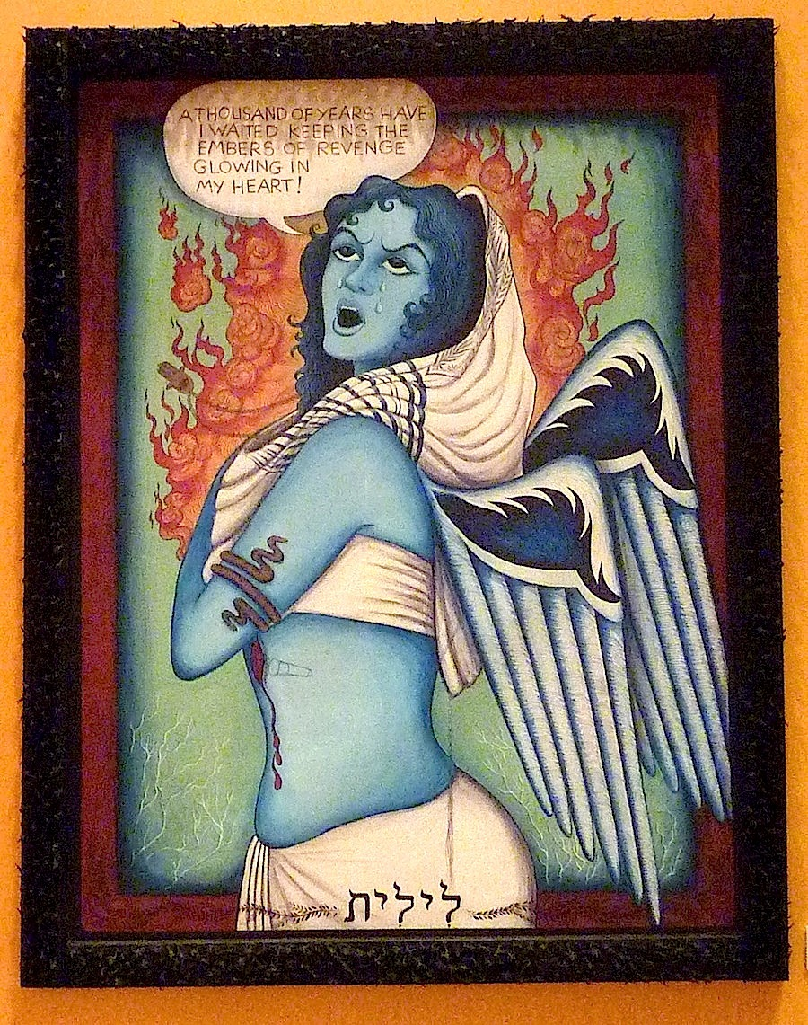"Finding Home #74 ""Lilith (Fereshteh) 2005 - Frame & banner, ink on fabric by Siona Benjamin Courtesy the artist"