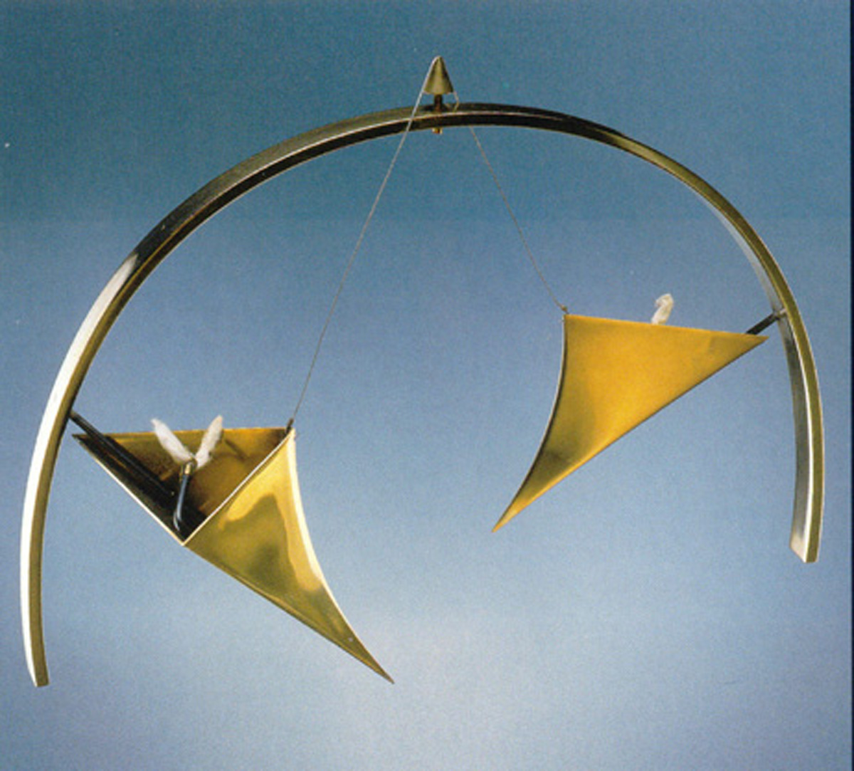 Candlesticks (1985) brass with steel thread by Ofer Rachamim, Yeshiva University Museum