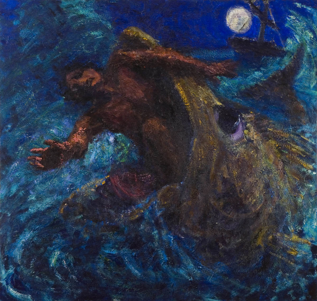 Jonah and the Whale (2005), oil on canvas (64 x 64) by Simon Carr