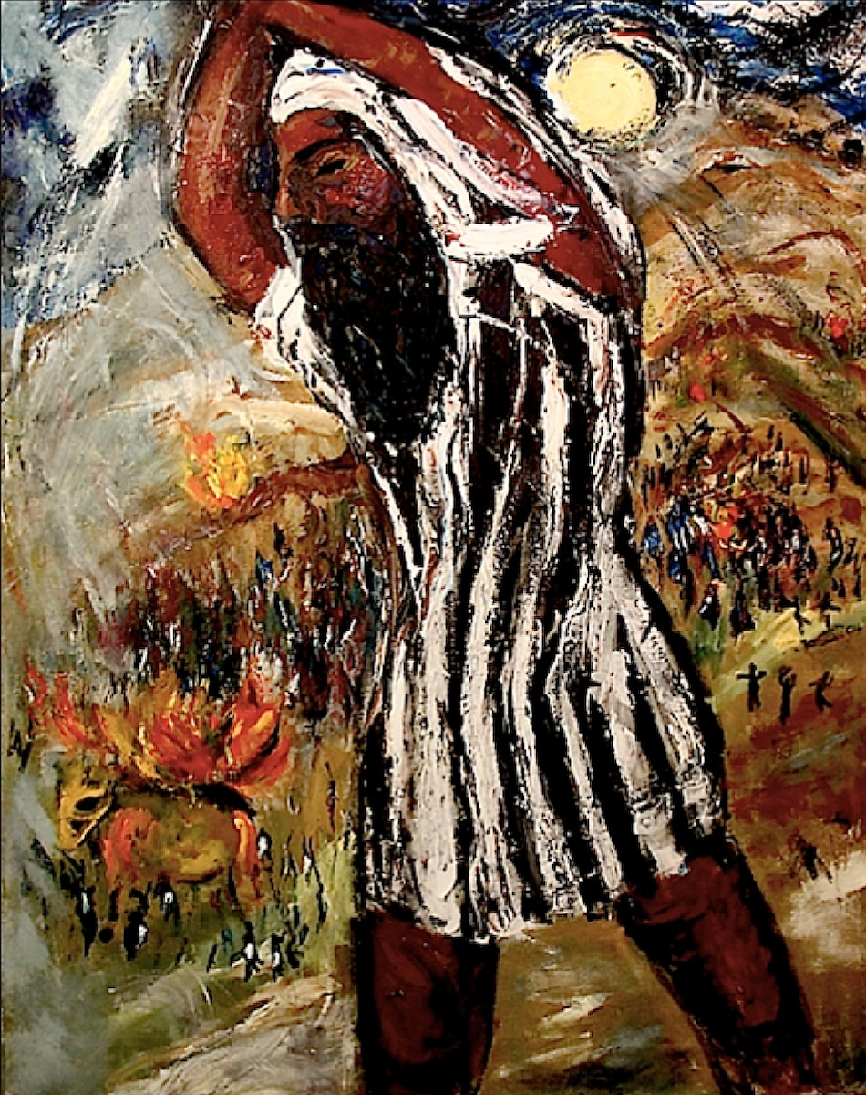 Moses Throwing Down the Tablets (78 x 62) oil on canvas by Simon Gaon Courtesy the artist