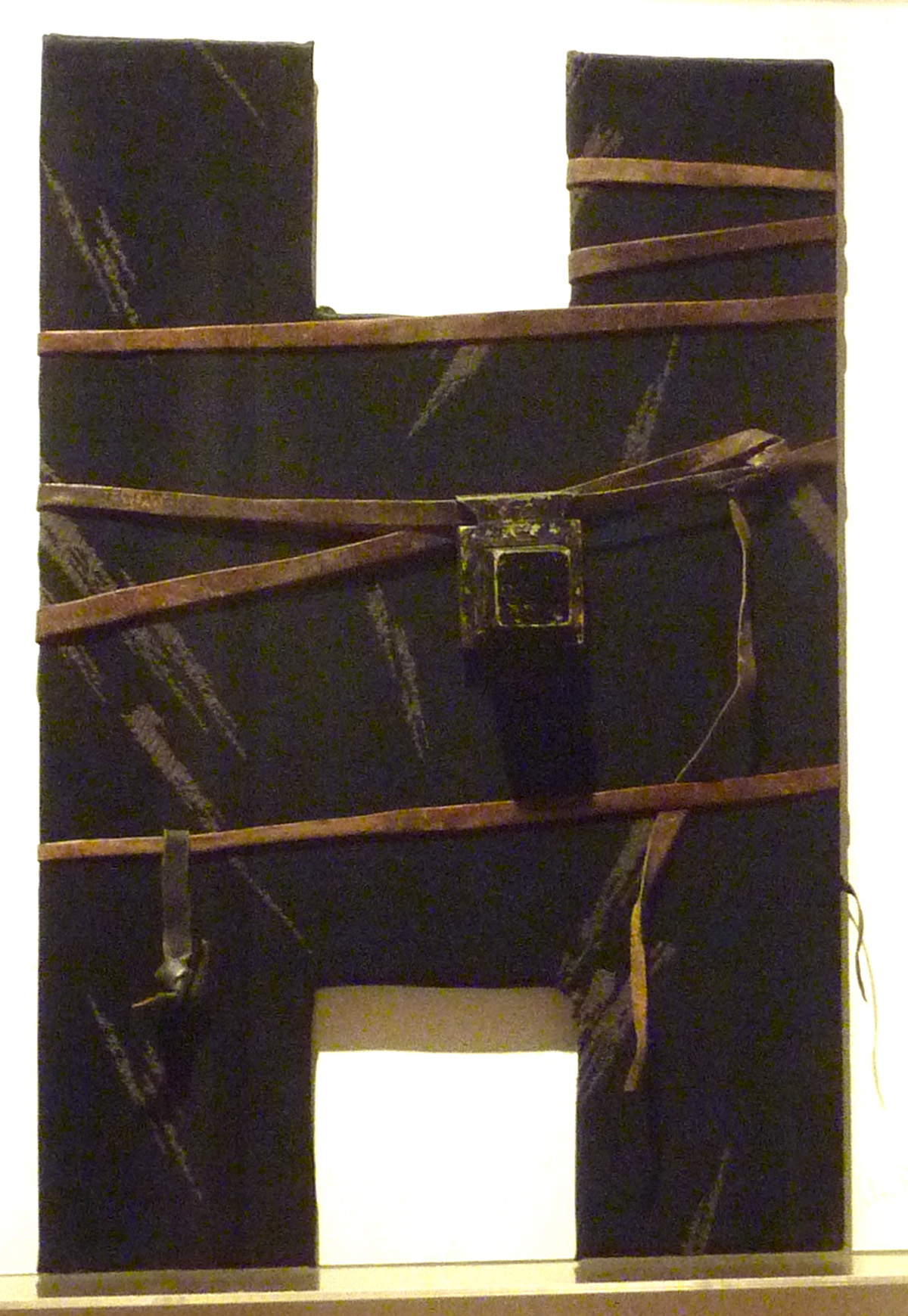 Black Eta (1983) Fabric over wood with pasul tefillin by Ita Aber