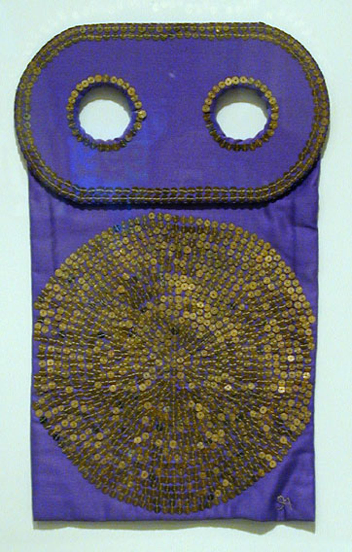 Untitled Wall Hanging Torah Mantle (1979) Purple cotton satin with gold plated sequins by Ita Aber