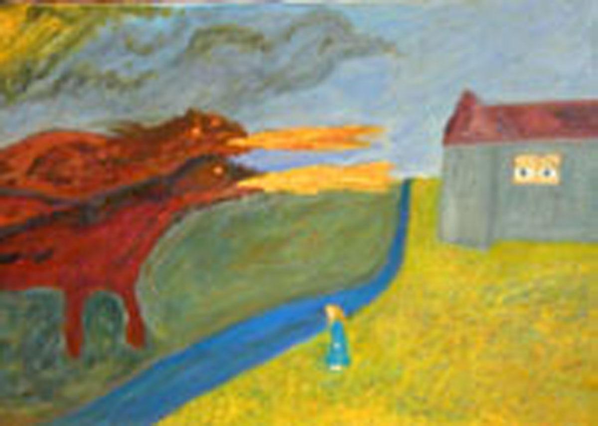 "The End of Childhood Detail (1999) Oil painting on canvas by Leah Ashkinazi (18"" X 36"")"