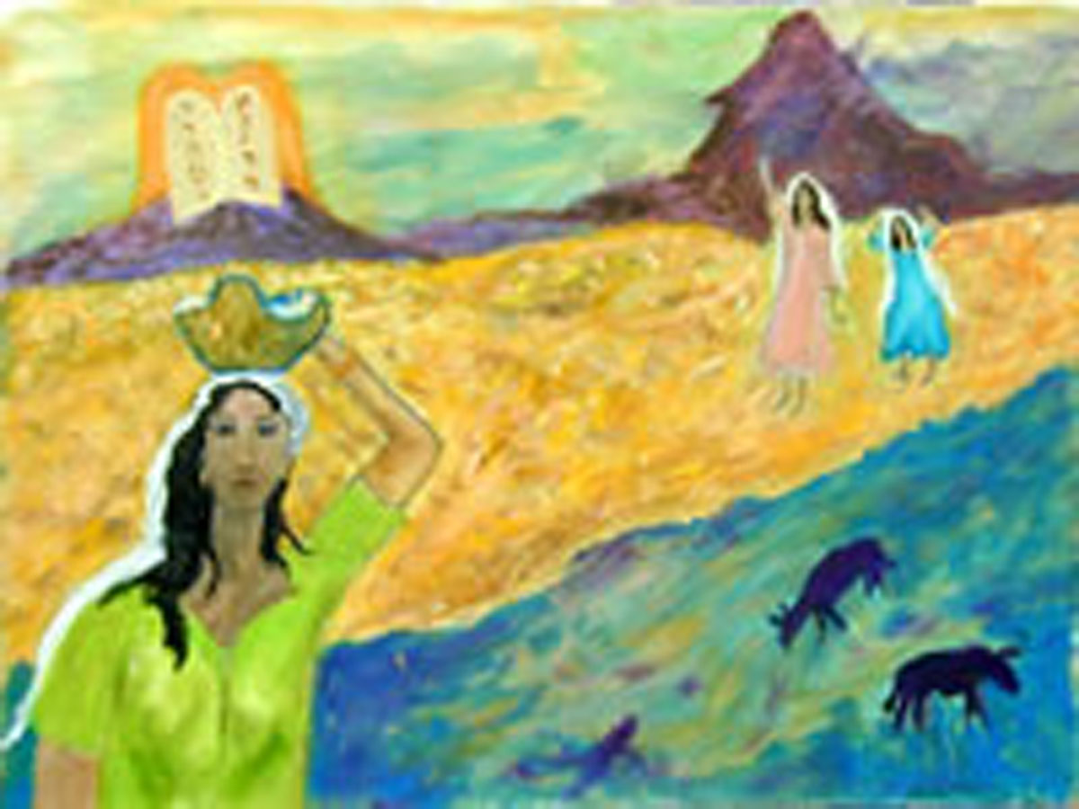 "The Saving of Moses (2001) Oil painting on canvas by Leah Ashkinazi (18"" X 24"")"