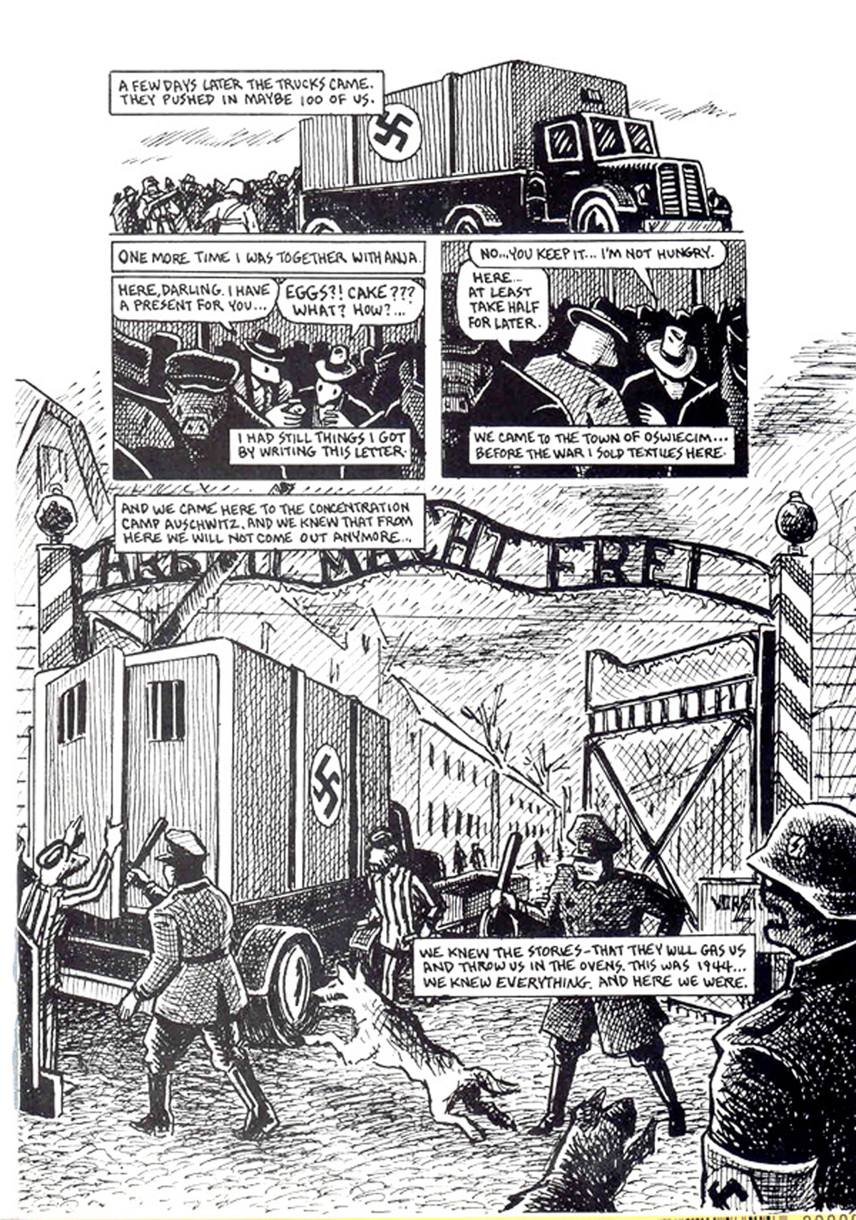 Auschwitz, pg. 157 from Maus, A Survivor's Tale, Volume One by Art Spiegelman published by Pantheon Books, New York 1992