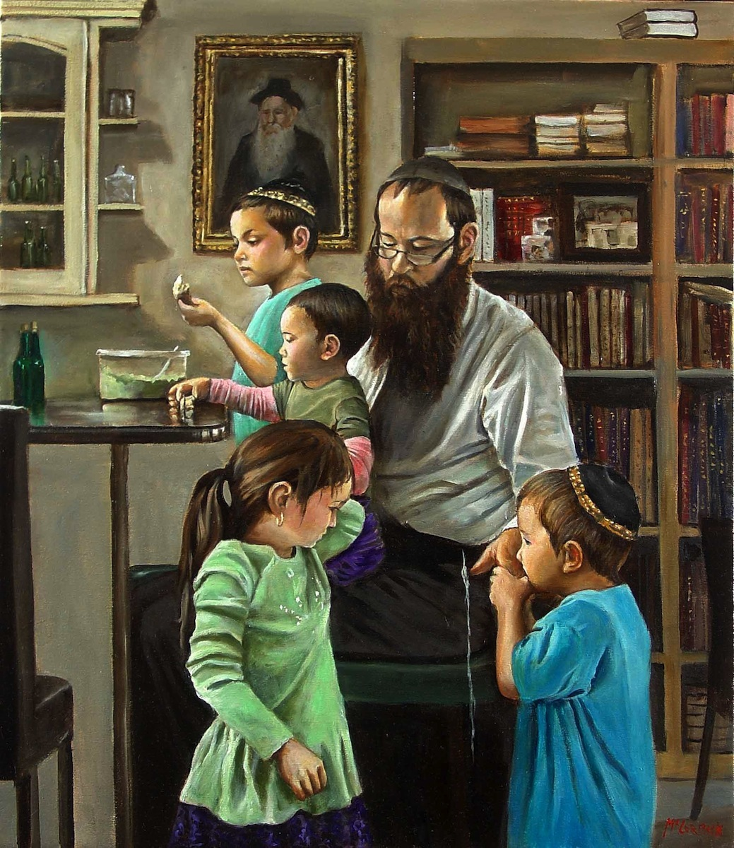 Rabbi Lieberow and Family; oil on canvas by Harry McCormick Courtesy Chassidic Art Institute