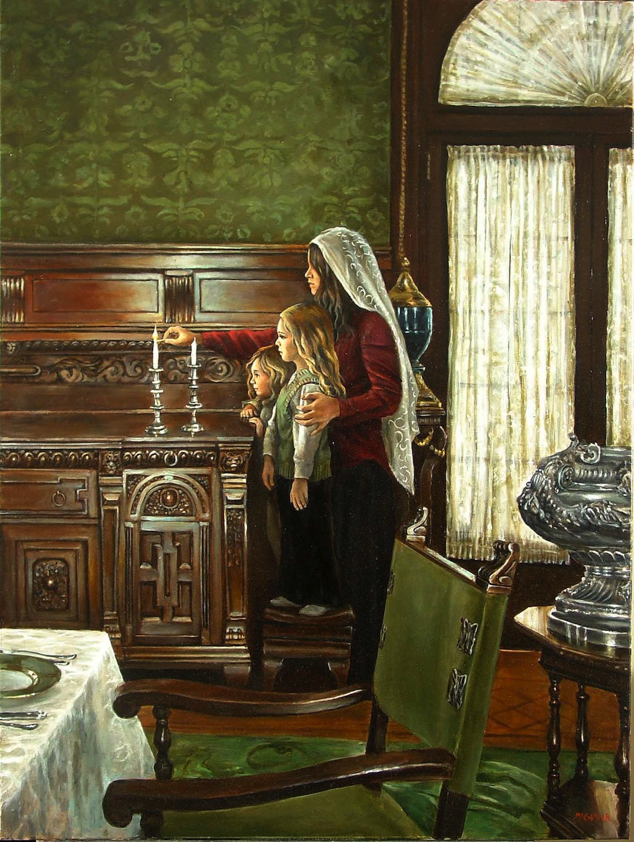 Friday Night Candles; oil on canvas by Harry McCormick Courtesy Chassidic Art Institute