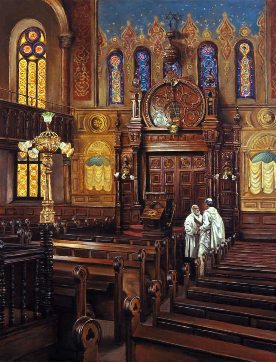 Eldridge Street Synagogue; oil on canvas by Harry McCormick Courtesy Chassidic Art Institute