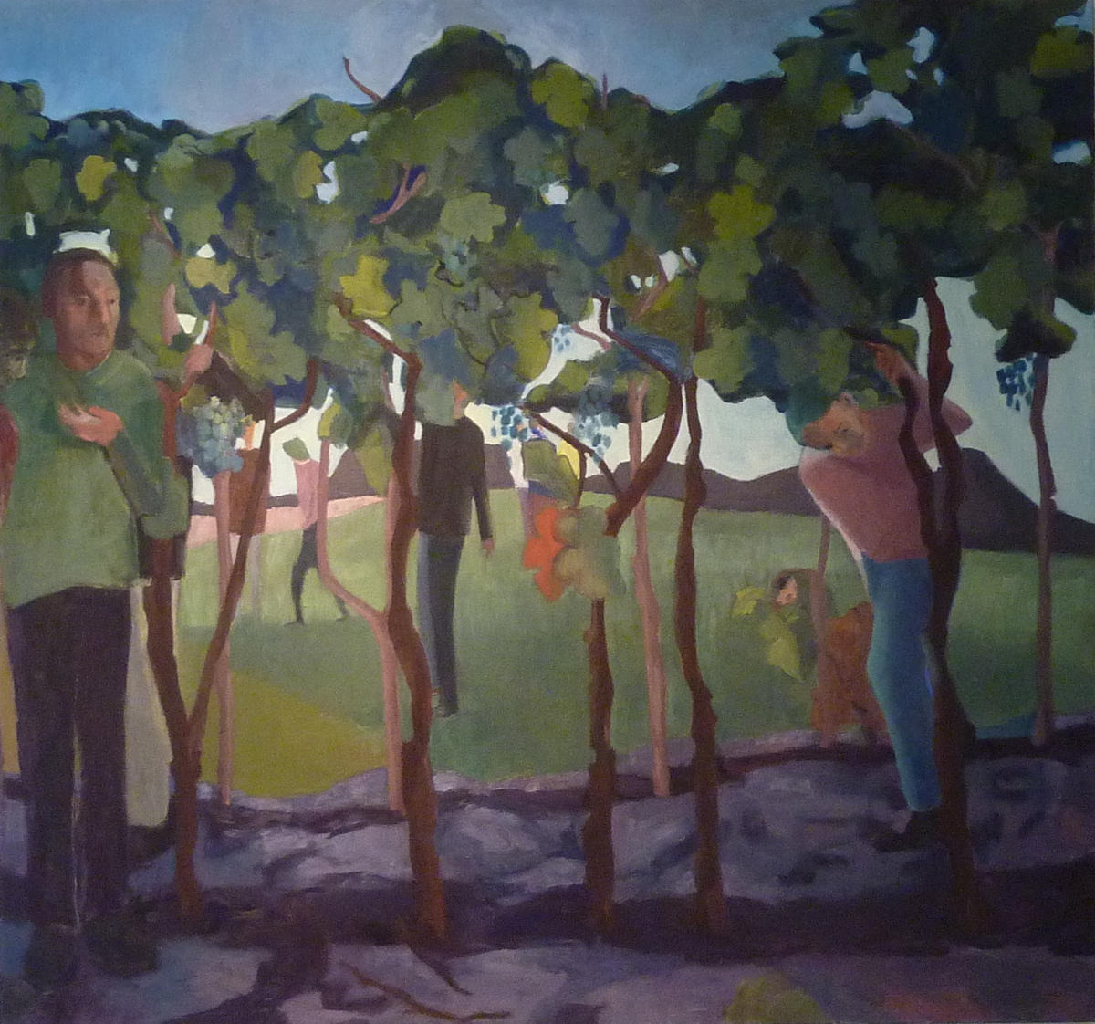 The 12 Spies - Vineyard (2013) 56 x 60, oil on linen by Shany Saar Courtesy the artist