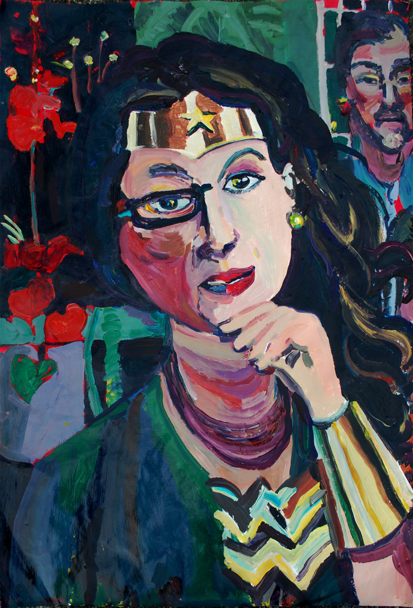 "Julie as Wonder Woman (2013) 26"" x 40"" acrylic on paper, by Joel Silverstein, Courtesy the artist"