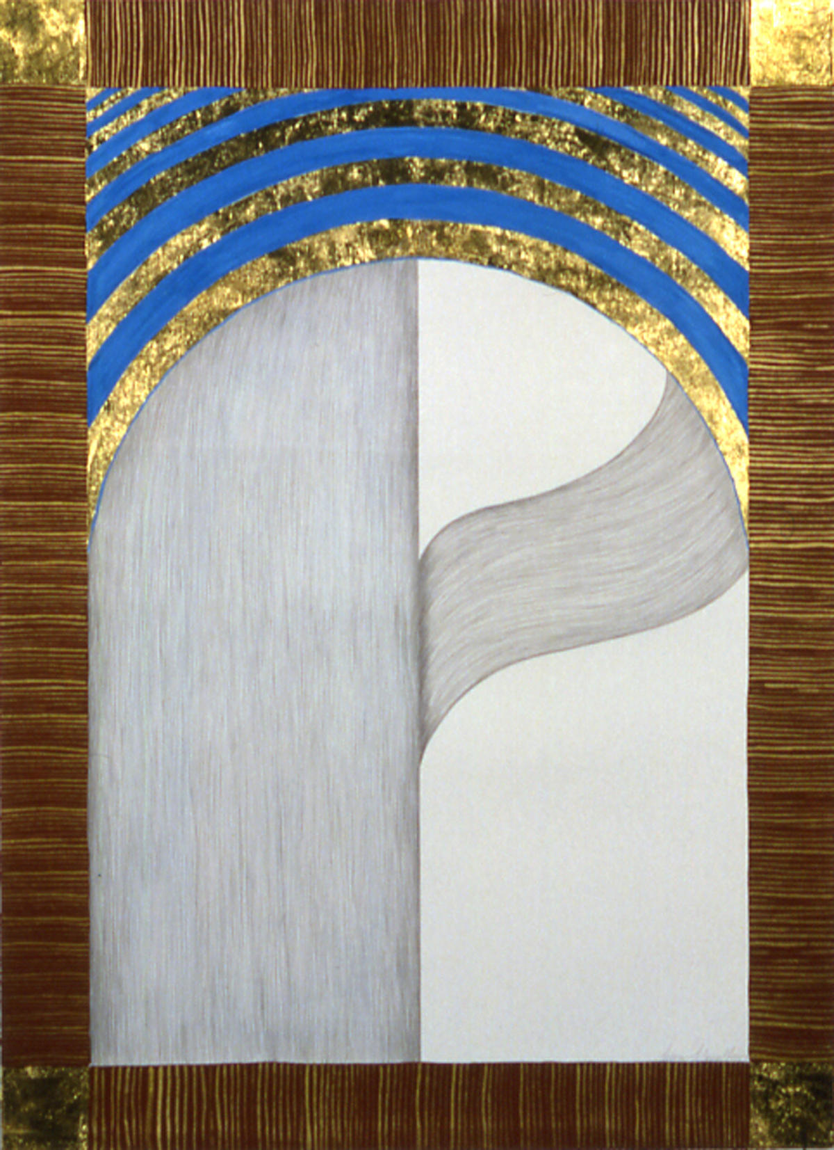 Creation XI (1987), silverpoint, gold leaf, acrylic on paper by Susan Schwalb