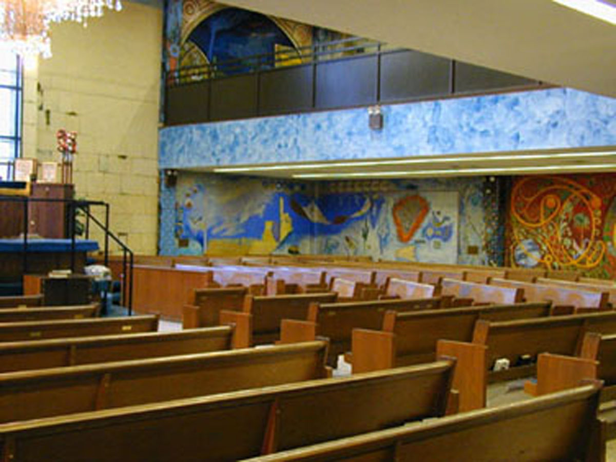 Interior View of Men's Section; murals by Archie Rand (ca. 1977) B'nai Yosef Synagogue, Brooklyn, New York