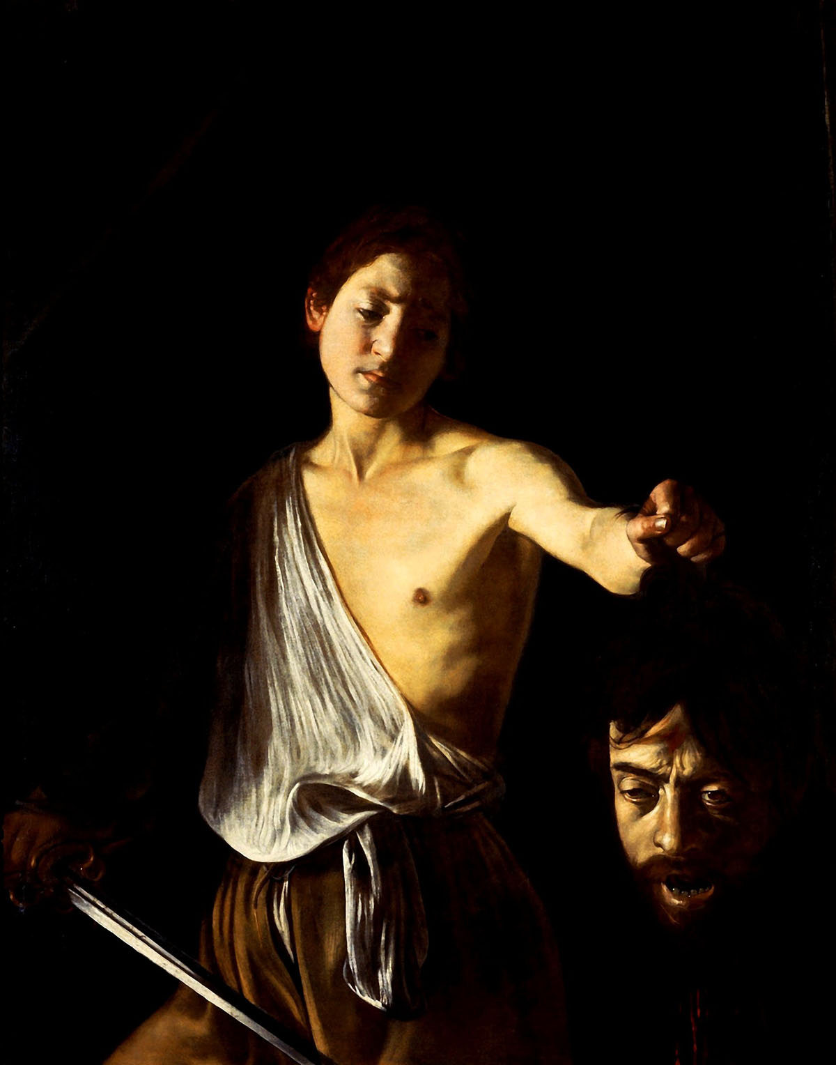 "David with the Head of Goliath (1606), oil on canvas (48"" X 39"") by Caravaggio Galleria Borghese, Rome"