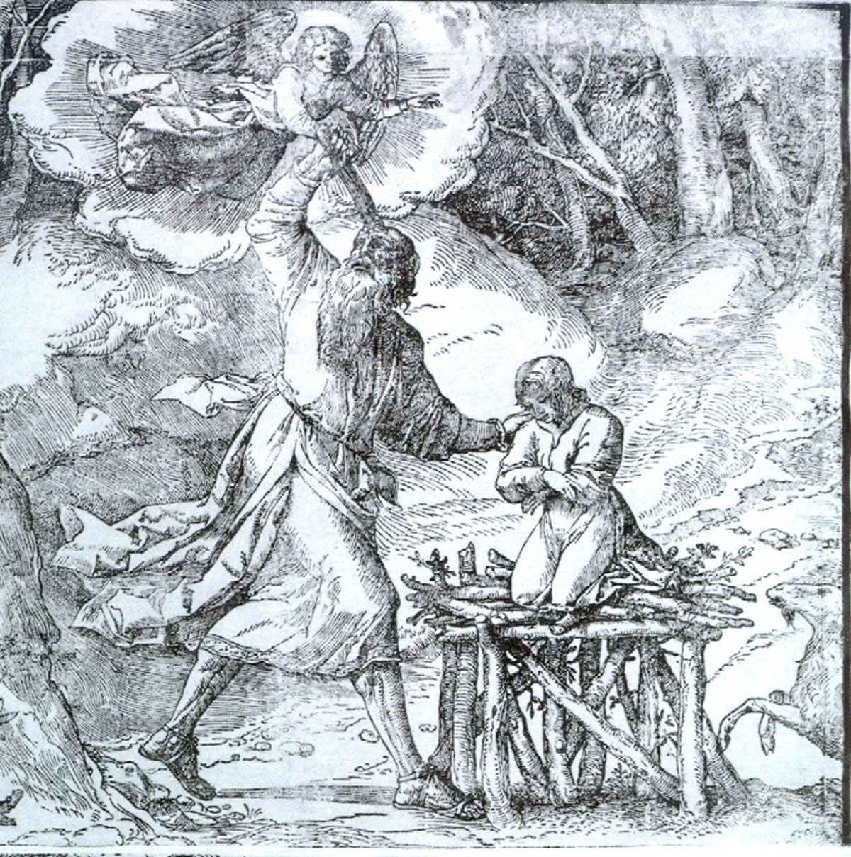 The Sacrifice of the Patriarch Abraham (detail) (1514-1515), woodcut print, after Titian and an unknown artist. Courtesy Museum of Fine Arts Boston