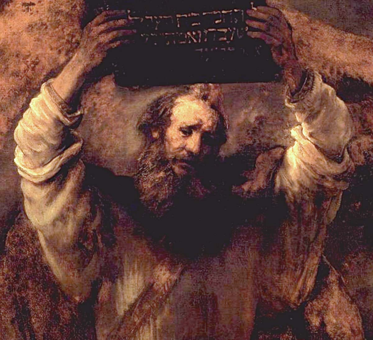 Moses Breaking the Tablets of the Law (1659) Detail; Oil on canvas by Rembrandt