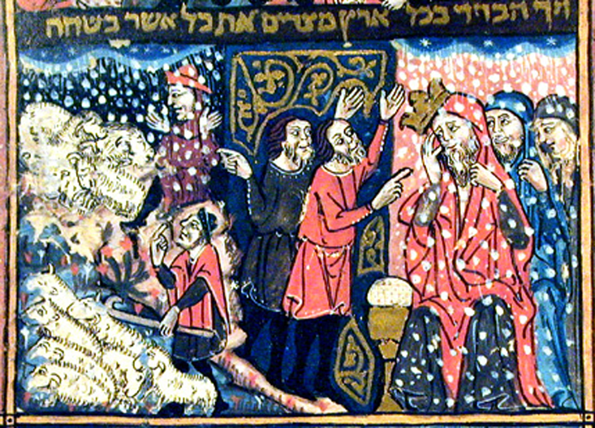 The Plague of Hail (f17a) The Rylands Haggadah (mid-14th Century Catalonia)