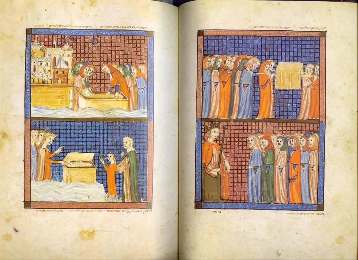 The Burial of Jacob and Joseph, the Finding of Moses, illuminated manuscript, pages 20 & 21, ink and color on vellum (ca.1350) The Sarajevo Haggadah Courtesy of Joy Schonberg Gallery