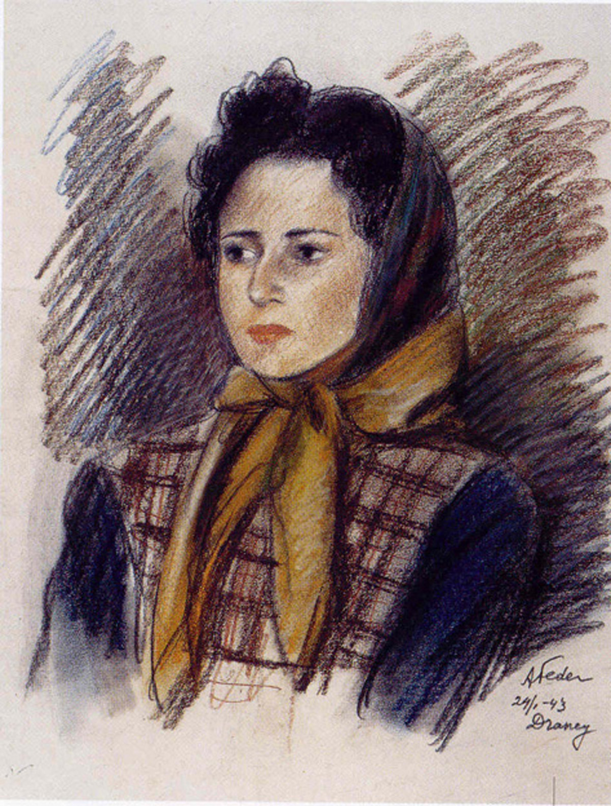 Portrait of a Lady with a Kerchief, (1943) Charcoal and pastel on paper by Aizik-Adolphe Feder (1887-1943) Ghetto Fighter's House Museum, Israel