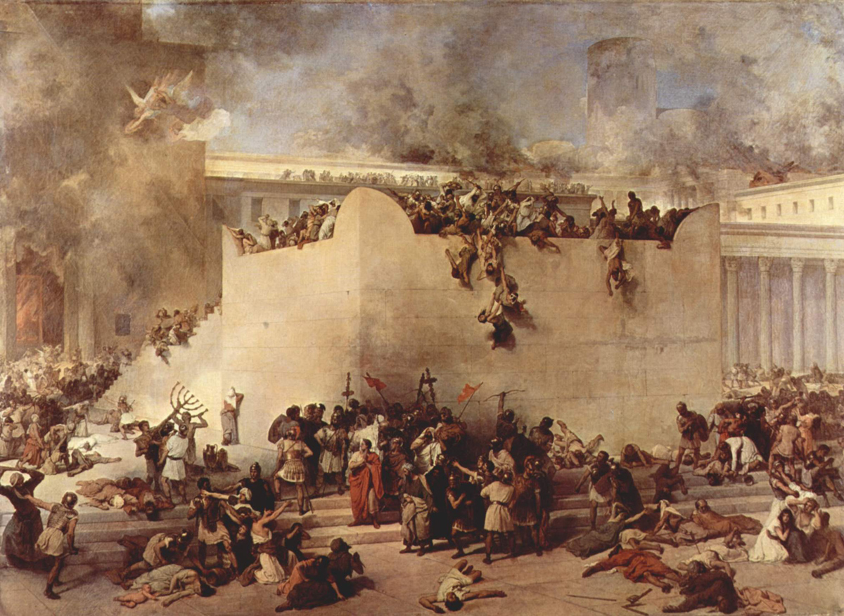 The Destruction of the Temple in Jerusalem (1867), painting by Francesco Hayez  Courtesy Galleria d'Arte Moderna, Venice