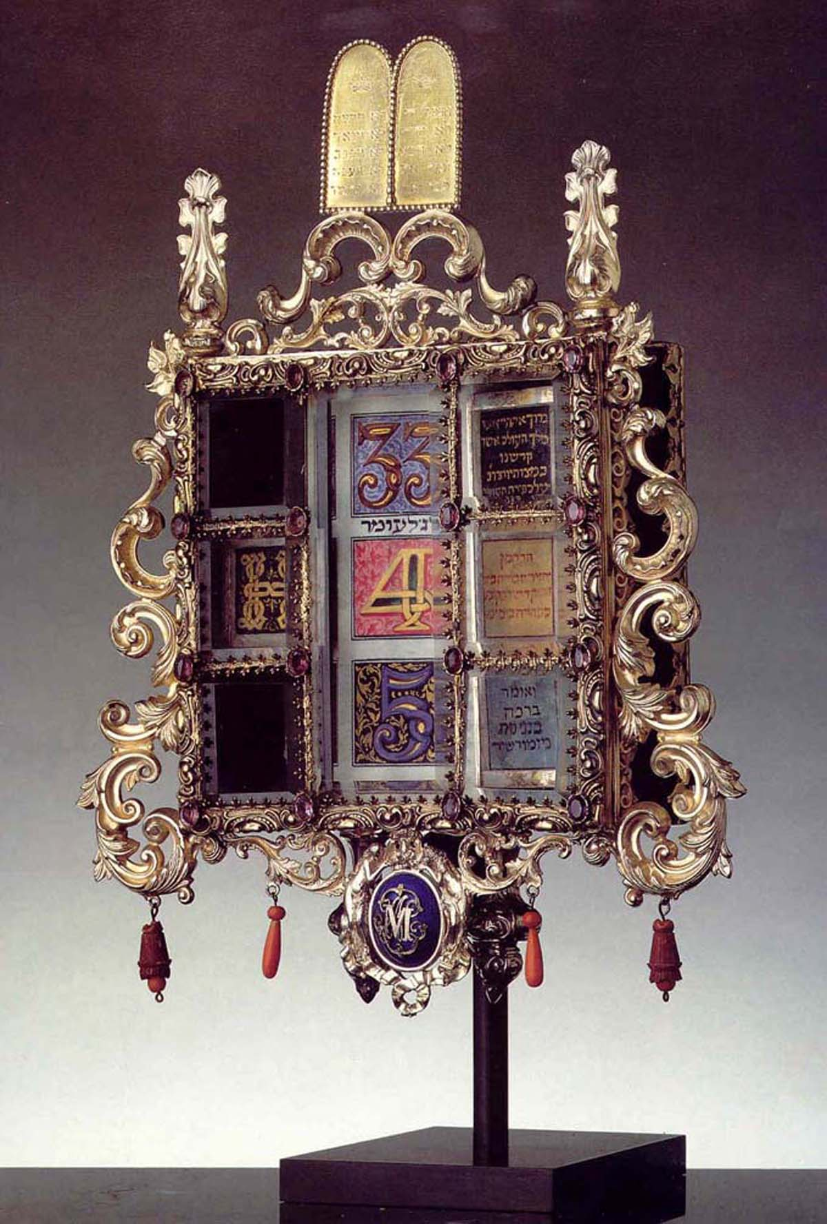Omer Calendar (1870) Wood, silver, gilt, enamel, glass, coral, parchment by Maurice Mayer; Hebrew Union College, Skirball Museum, Los Angeles